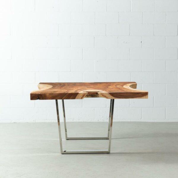 Meja Makan Solid Trembesi Suar Wood Dengan Kaki Stainless